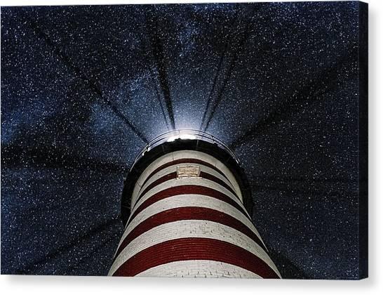 West Quoddy Head Lighthouse Night Light Canvas Print