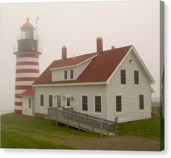 West Quoddy In Fog Canvas Print