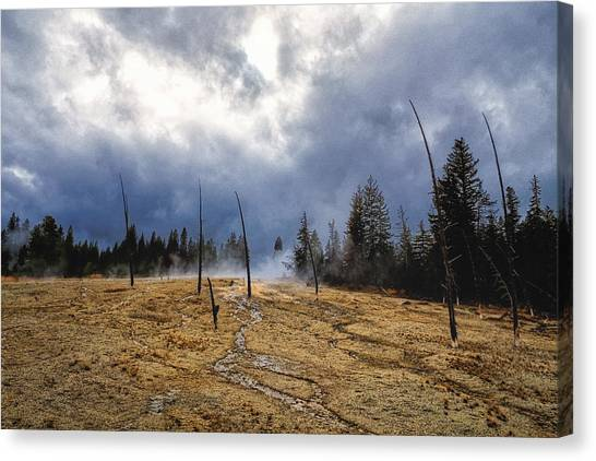Canvas Print featuring the photograph West Thumb Geyser Basin   by Lars Lentz