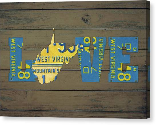 West Virginia Canvas Print - West Virginia State Love License Plate Art Phrase by Design Turnpike