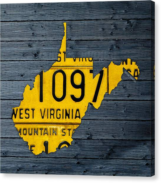 1972 Canvas Print - West Virginia State Recycled Vintage License Plate Map Art by Design Turnpike