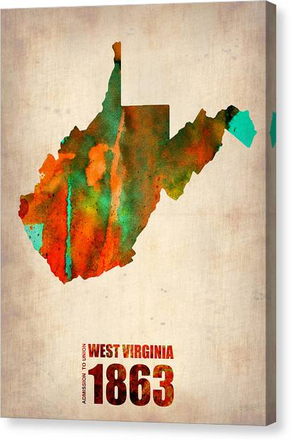 West Virginia Canvas Print - West Virginia Watercolor Map by Naxart Studio