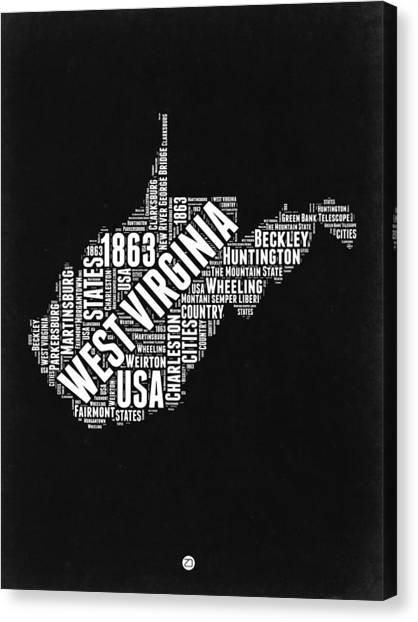 West Virginia Canvas Print - West Virginia Word Cloud Black And White Map by Naxart Studio