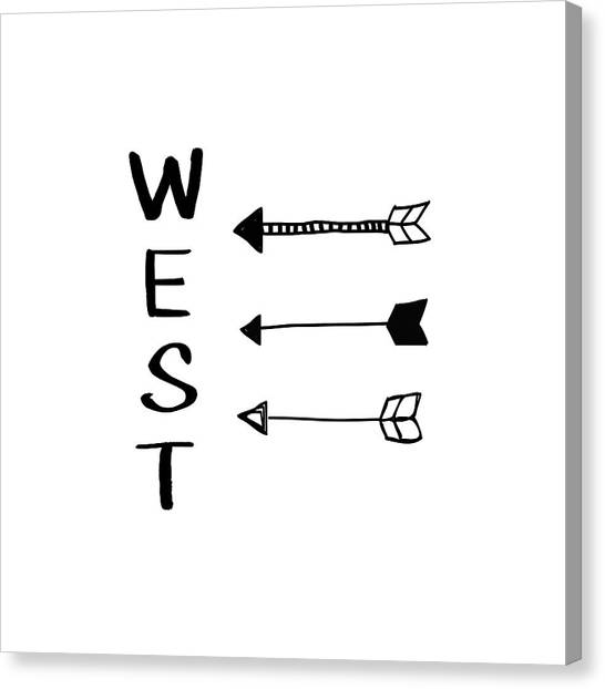 Compass Canvas Print - West With Arrows- Art By Linda Woods by Linda Woods