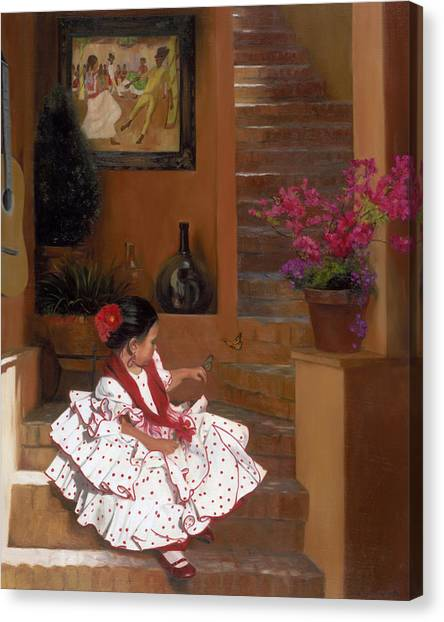 Children Canvas Print - Western Grace Of Good Cheer    Mexico    From The Three Graces Of The West by Anna Rose Bain