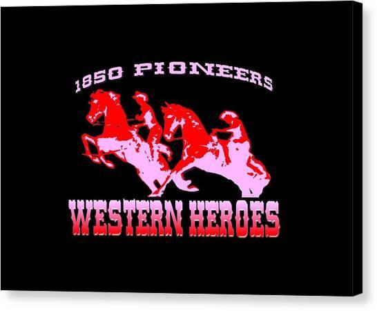 Buy Tshirts Canvas Print - Western Heroes 1850 Pioneers - Tshirt Design by Peter Potter