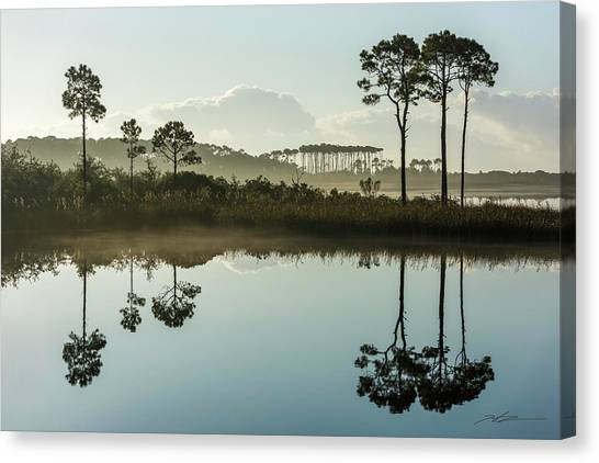 Western Lake Misty Morning Canvas Print