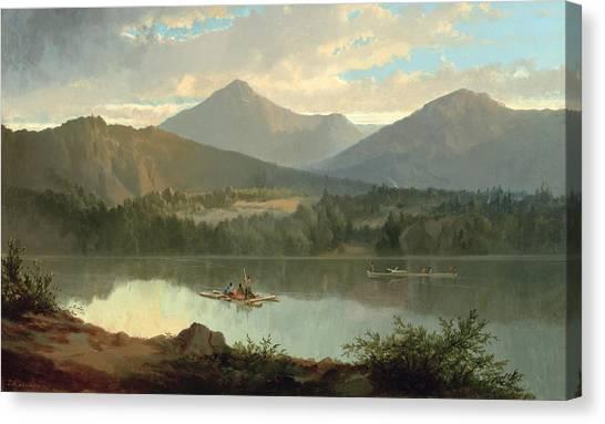 John Boats Canvas Print - Western Landscape by John Mix Stanley