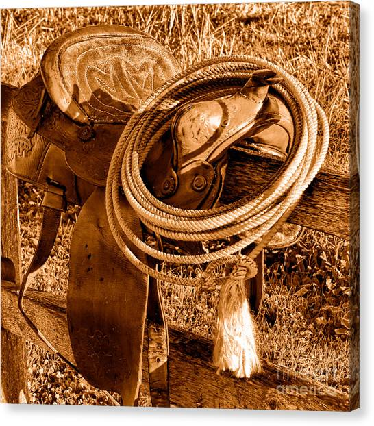 Lassos Canvas Print - Western Lasso On Saddle - Sepia by Olivier Le Queinec