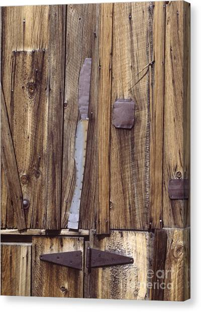 western rural abstract photography - One-Eyed Barn Door Canvas Print