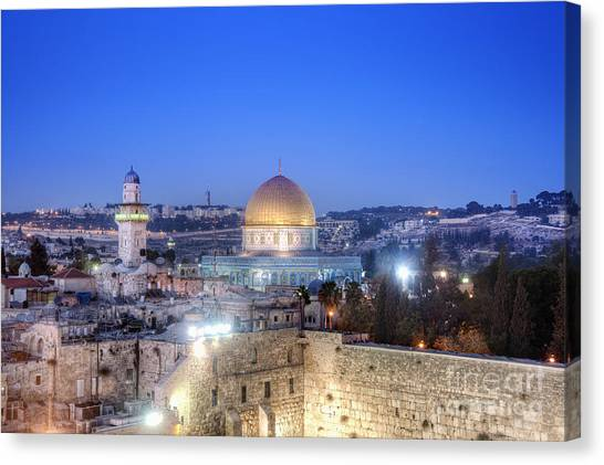 Israeli Canvas Print - Western Wall And Dome Of The Rock by Noam Armonn
