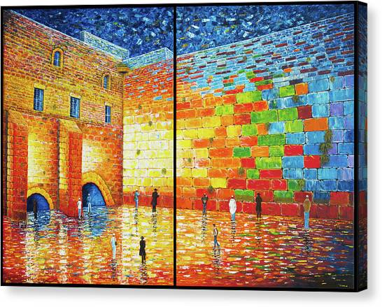 Canvas Print featuring the painting Western Wall Jerusalem Wailing Wall Acrylic Painting 2 Panels by Georgeta Blanaru