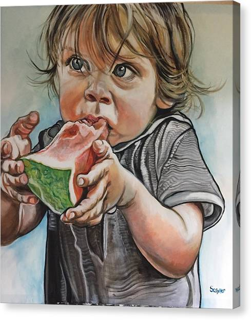 Westy And The Watermelon Canvas Print