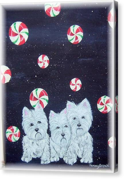 Westies In Candy Land Canvas Print by Tammy Brown