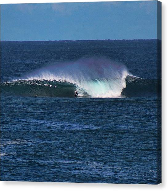 Surfing Canvas Print - Bodyboarder At The Box by Mik Rowlands