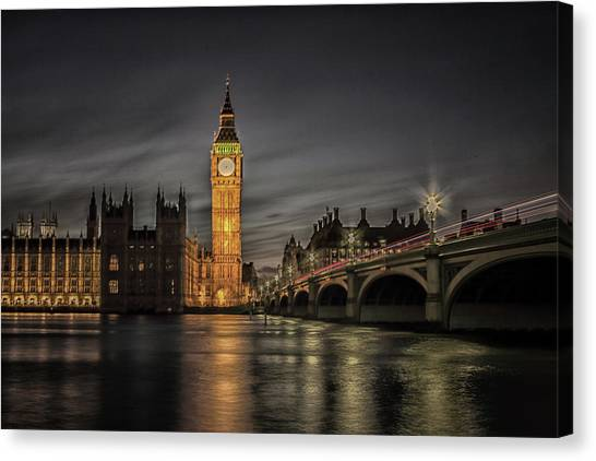 Palace Of Westminster Canvas Print - Westminster At Night by Martin Newman
