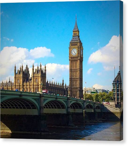 Parliament Canvas Print - Westminster Bridge And Big Ben by Liza Jane