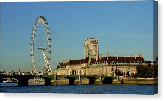 London Eye Canvas Print -  Westminster Bridge And London Eye by Misentropy