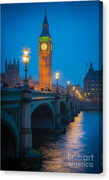 London Canvas Print - Westminster Bridge At Night by Inge Johnsson