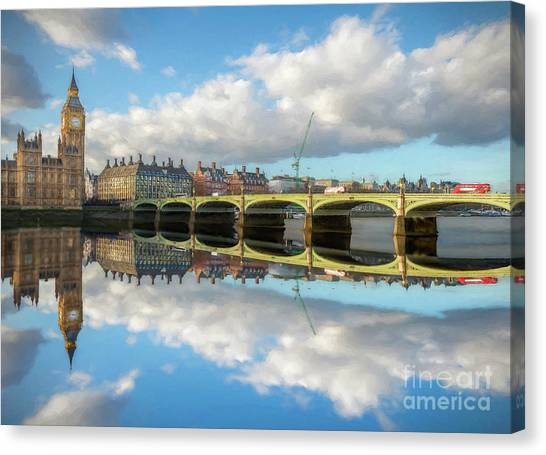 Palace Of Westminster Canvas Print - Westminster Bridge London by Adrian Evans