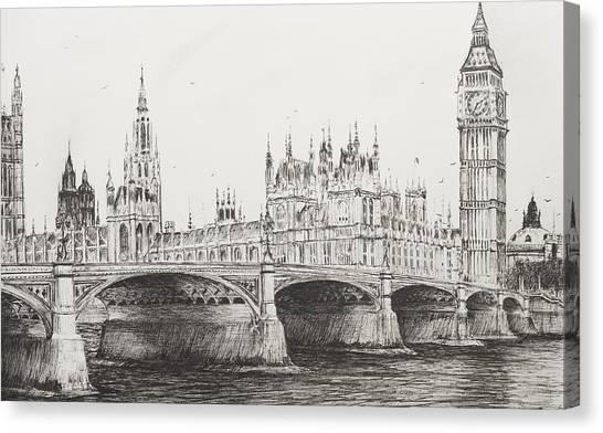 Pen Canvas Print - Westminster Bridge by Vincent Alexander Booth