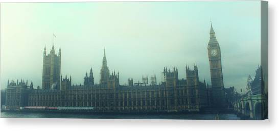 Palace Of Westminster Canvas Print - Westminster Fog by Martin Newman