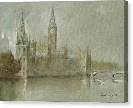 Big Ben Canvas Print - Westminster Palace And Big Ben London by Juan Bosco