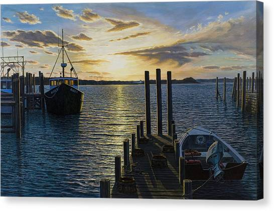 Westport Harbor Canvas Print by Bruce Dumas