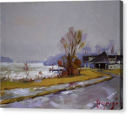 Wet Canvas Print - Wet And Icy At Gratwick Waterfront Park by Ylli Haruni
