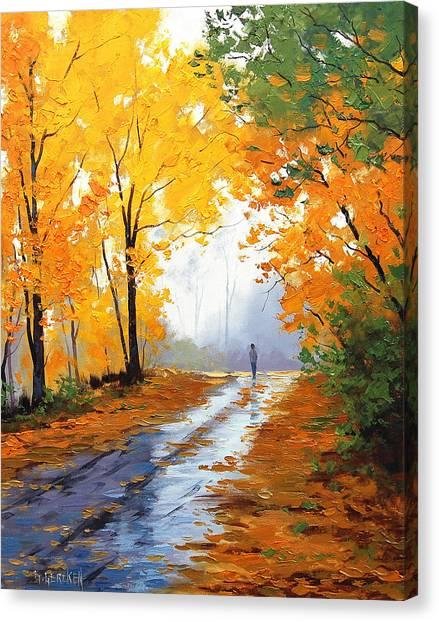 Wet Canvas Print - Wet Autumn Morning by Graham Gercken