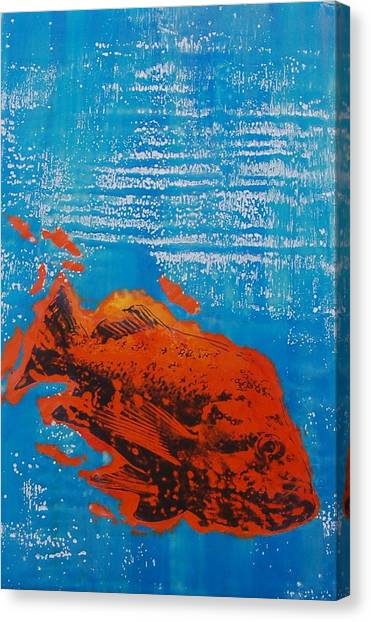 Wet Fish Canvas Print by Kim Quinn Nicholson