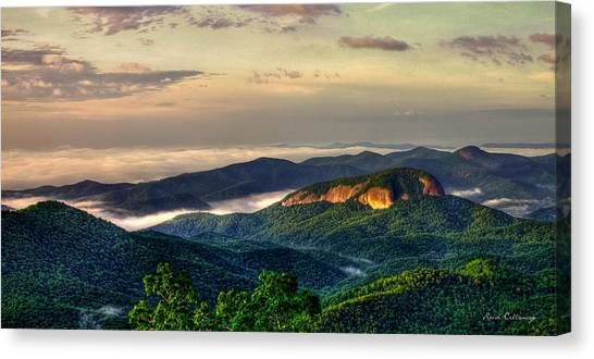 Pisgah National Forest Canvas Print - Looking Glass Rock Sunrise Between The Clouds Blue Ridge Parkway by Reid Callaway