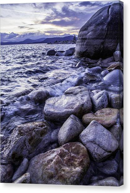 Wet Rocks At Sunset Canvas Print
