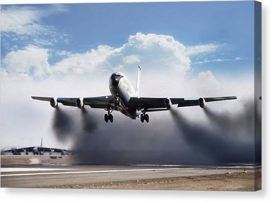 Airplanes Canvas Print - Wet Takeoff Kc-135 by Peter Chilelli