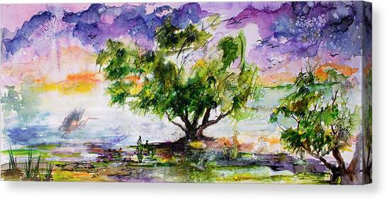 Wetland In The Mist Landscape With Trees And Birds Canvas Print