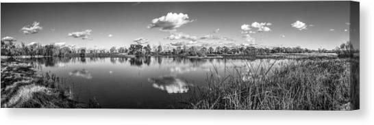 Wetlands Panorama Monochrome Canvas Print