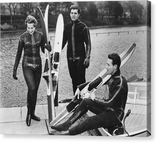 Water Skis Canvas Print - Wetsuits For Water Skiers by Underwood Archives