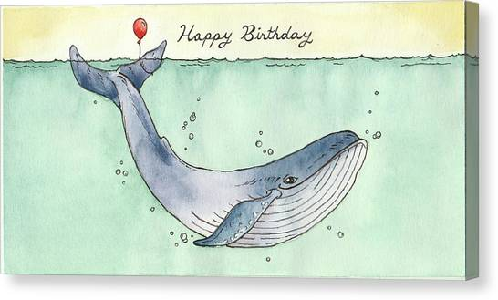Happy Birthday Canvas Print - Whale Happy Birthday Card by Katrina Davis