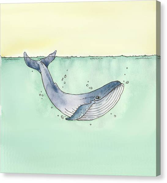 Blue Whales Canvas Print - Whale by Katrina Davis