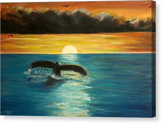 Whale Tail At Sunset  Canvas Print