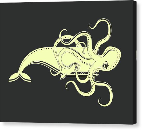 Octopus Canvas Print - Whale Vs. Octopus by Jazzberry Blue