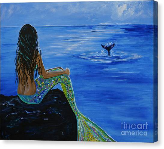 Print On Canvas Print - Whale Watcher by Leslie Allen
