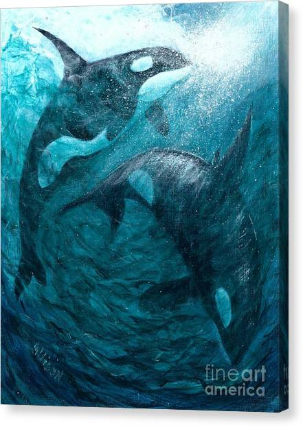 Whales  Ascending  Descending Canvas Print