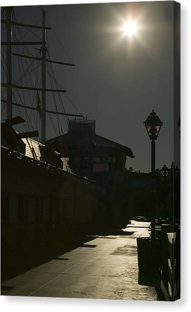 Wharf At Night Canvas Print by Clyde Replogle