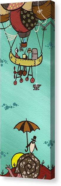 Penguin Canvas Print - What Goes Up.... by Dan Keough