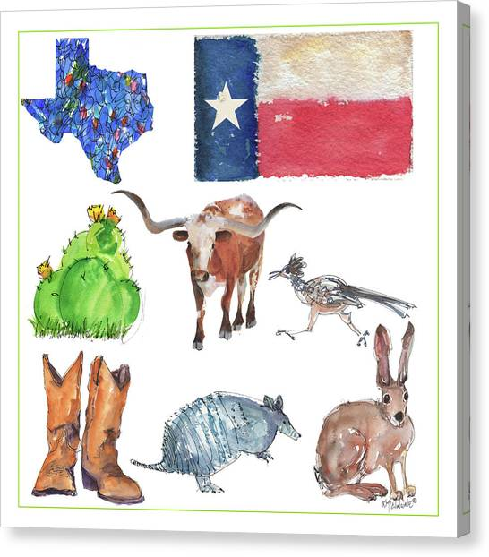 What Texas Loves, Texas Longhorn Watercolor Painting By Kmcelwaine Canvas Print