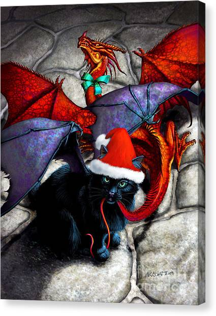 What The Catabat Dragged In For Christmas  Card Canvas Print