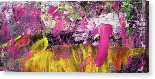 Whatever Makes You Happy - Large Pink And Yellow Abstract Painting Canvas Print