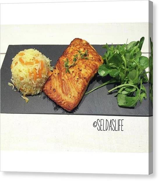 Salmon Canvas Print - What's For #dinner On #friday ? It's by Selda Cankaya
