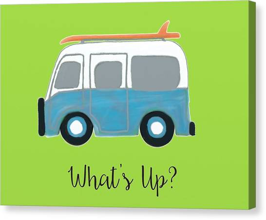 Surfboard Canvas Print - What's Up by Priscilla Wolfe